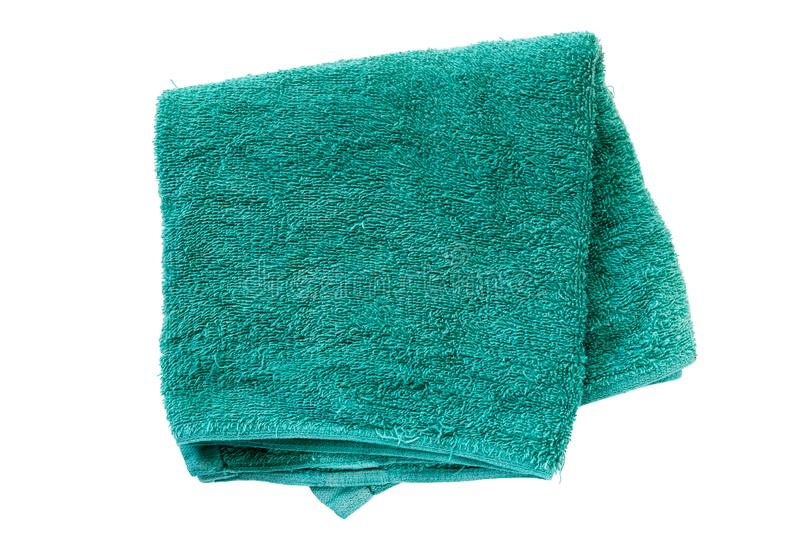 Green Towel isolated on white background stock photography