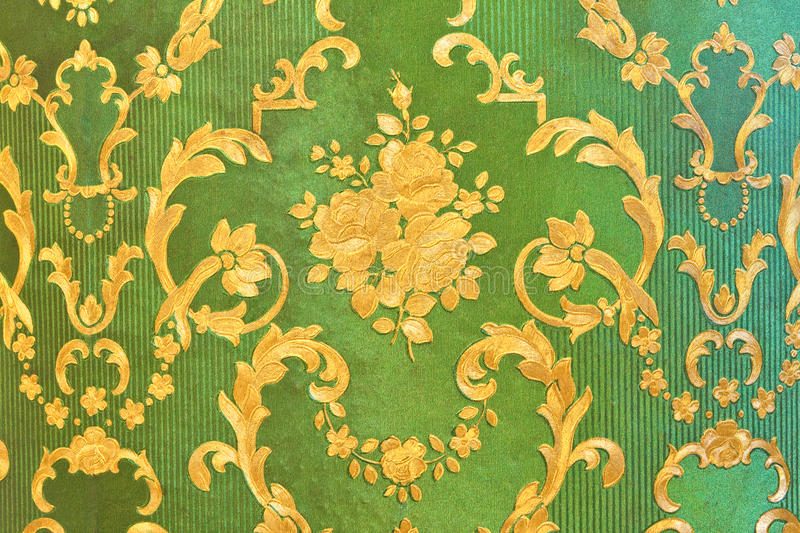 Old green wallpaper. Traditional Thai style stock photography