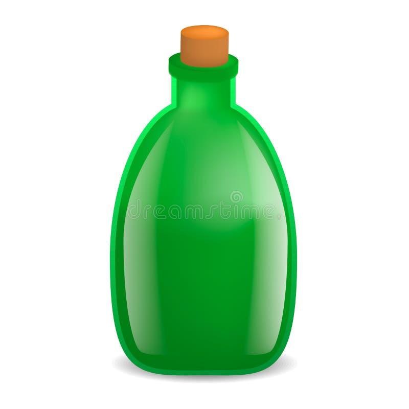 Old green wine bottle mockup, realistic style royalty free illustration