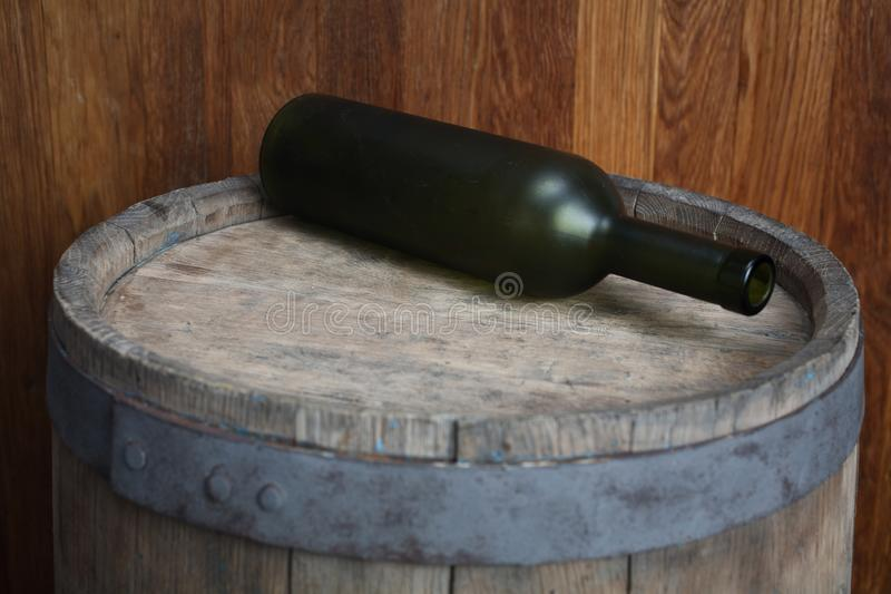 Old green wine bottle royalty free stock photos