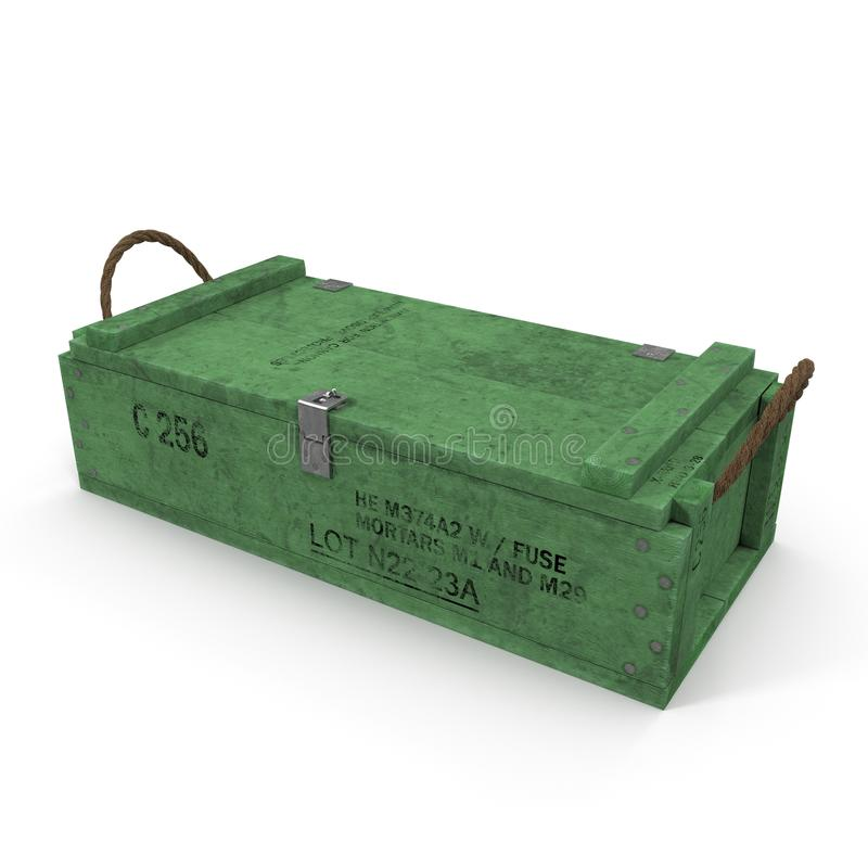 Old green wooden ammo case on white. 3D illustration stock illustration