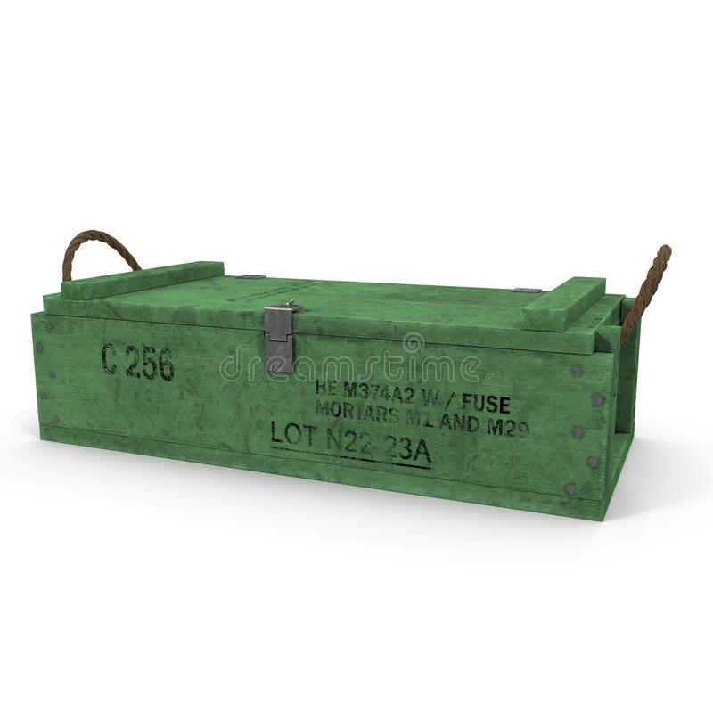 Old green wooden ammo case on white. 3D illustration royalty free illustration