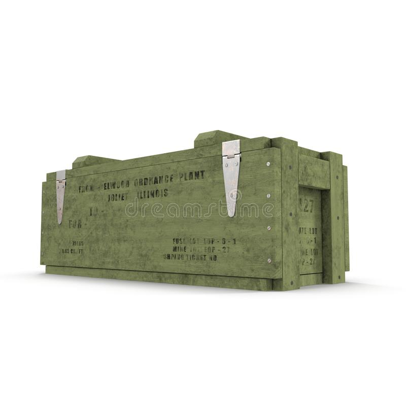 Old green wooden ammo case on white. 3D illustration vector illustration