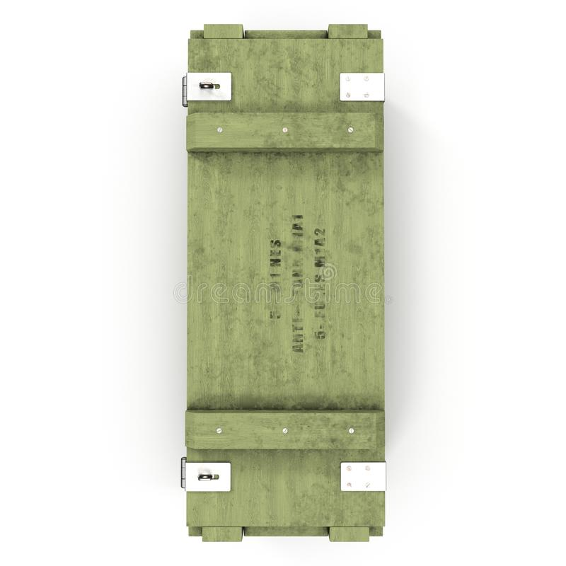 Old green wooden ammo case on white. Top view. 3D illustration royalty free illustration