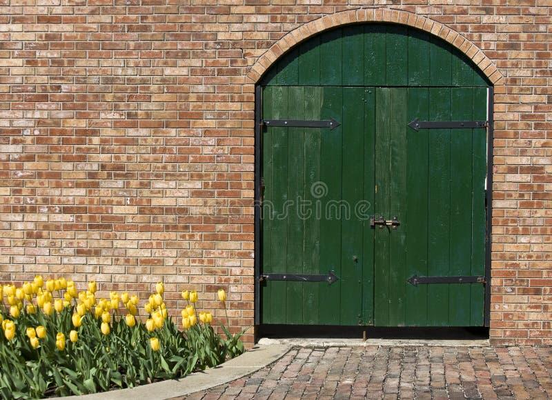 Download Old Green Wooden Door With Yellow Tulips Stock Image - Image: 12123593