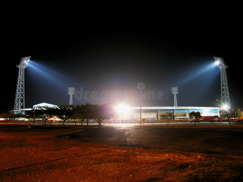 The old Greenpoint Stadium at night.