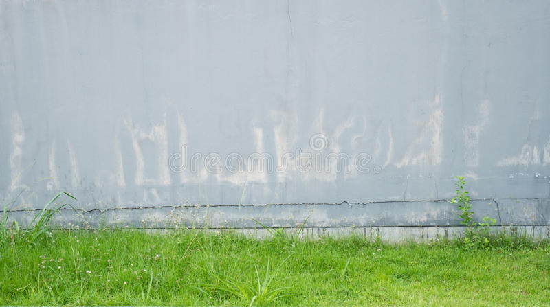 Old grey concrete wall pale and cracked. And have green grass at the bottom royalty free stock images