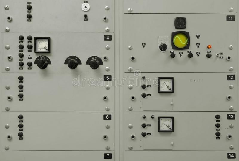 Old, grey electrical control panel royalty free stock photography
