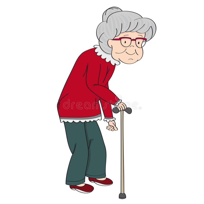 Old grey-haired senior lady, retired woman, granny with walking stick. Original hand drawn illustration. Old grey-haired senior lady, retired woman, granny with royalty free illustration