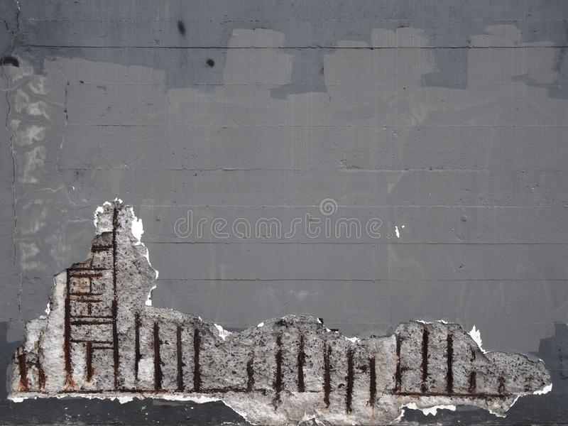 Old grey painted concrete wall with corroding rusty steel reinforcement bars causing damage to the structure. An old grey painted concrete wall with corroding stock photography