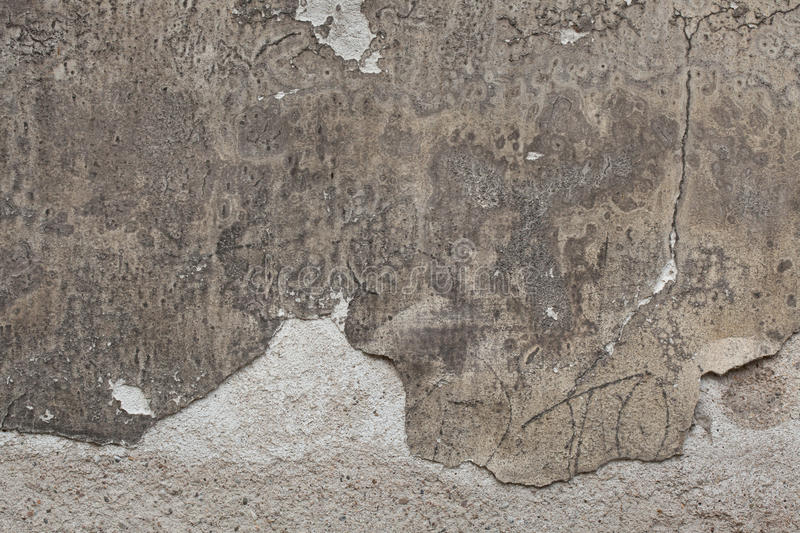 Old grey stucco wall with cracked plaster. Background texture.  stock photos