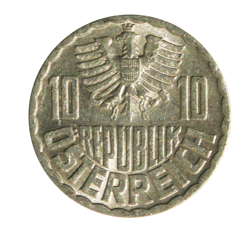 Old 10 Groschen Austrian coin isolated on white. Reverse royalty free stock images