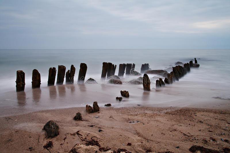 Download Old groyne stock image. Image of water, blue, evening - 13348817