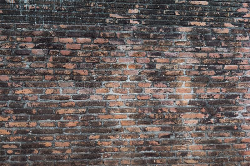 Old grudge red brick wall texture background. stock image