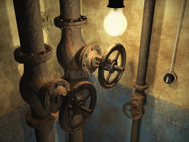 Old grunge abandoned interior. With rusty pipes and dirty faded wall stock illustration
