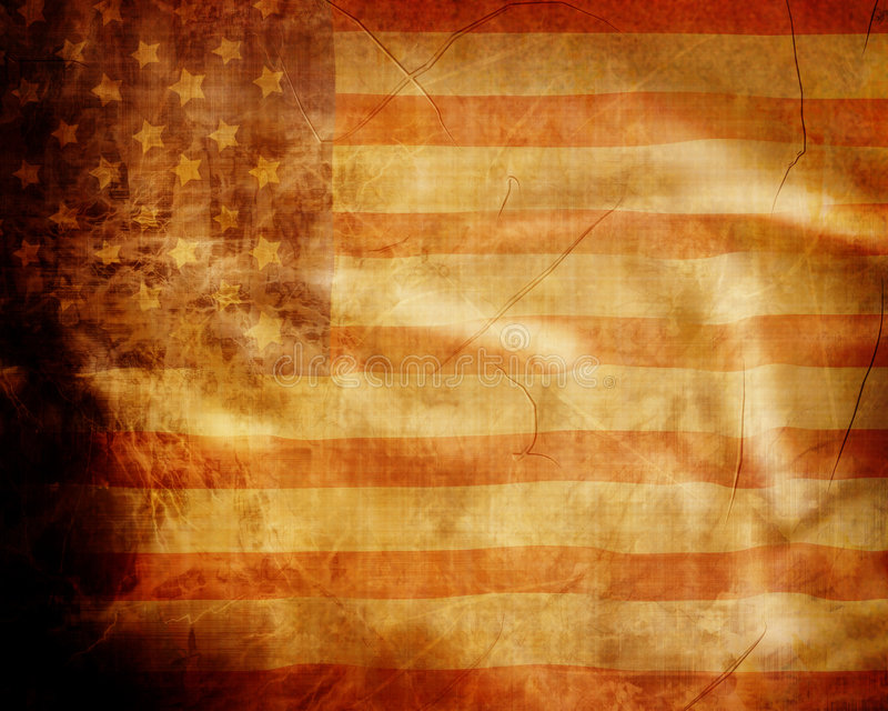 Old grunge american flag. With some scratches and stains stock illustration
