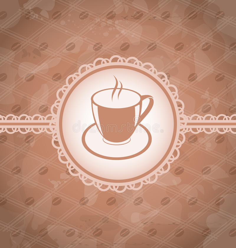 Old grunge background with coffee label stock illustration