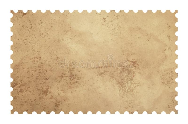Old grunge blank postage paper stamp on white royalty free illustration