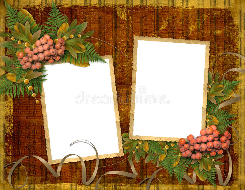Old Grunge Card With Autumn Leaves Royalty Free Stock Photography