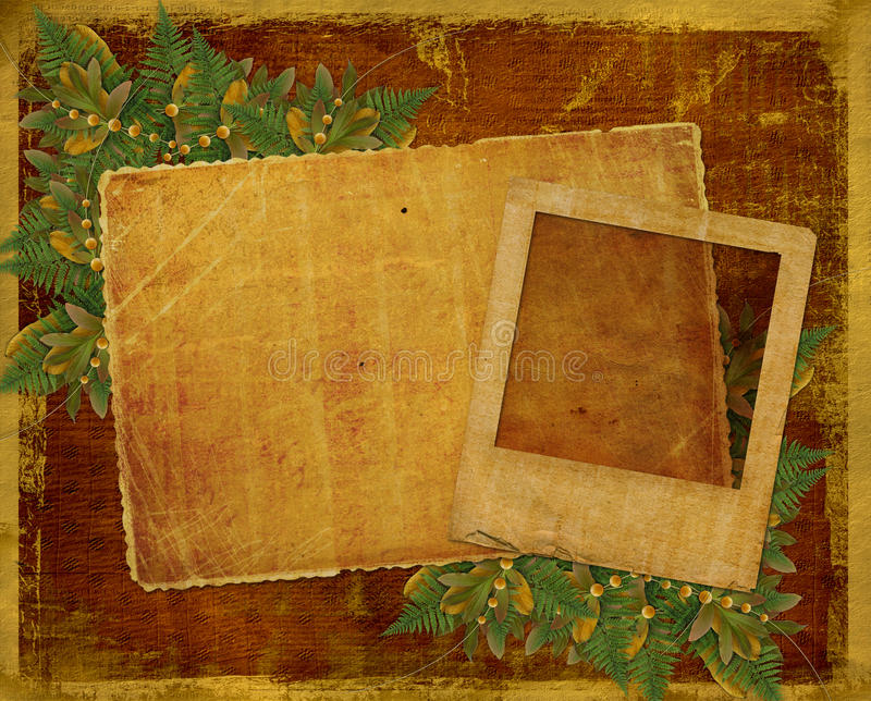 Download Old Grunge Card With Autumn Leaves. Stock Illustration - Image: 10837341