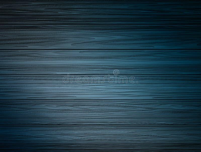 Simple raster illustration. Old grunge dark blue wooden texture as a frame. Raster illustration stock photo