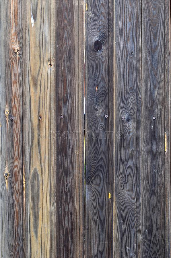 Old grunge dark brown wood panel pattern with beautiful abstract grain surface texture, vertical striped background or backdrop i. N architectural material stock photography