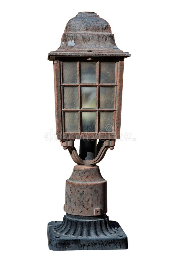 Old fence lamp isolated on wihte background stock photography