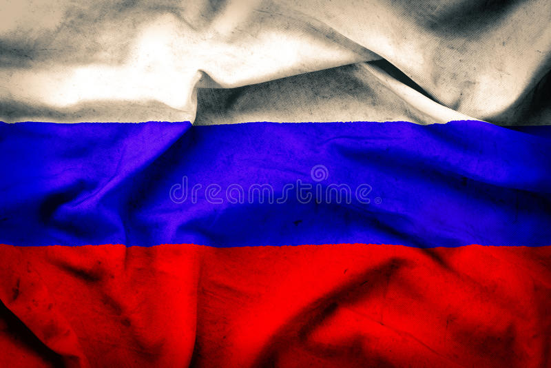 Old grunge flag of Russia stock photography