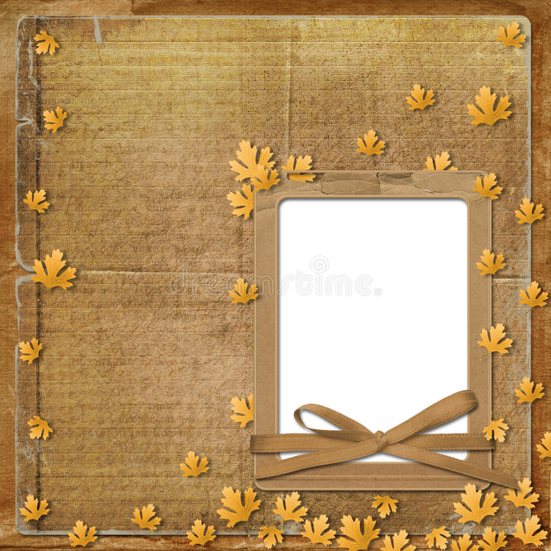 Old grunge frame with autumn leaves stock illustration