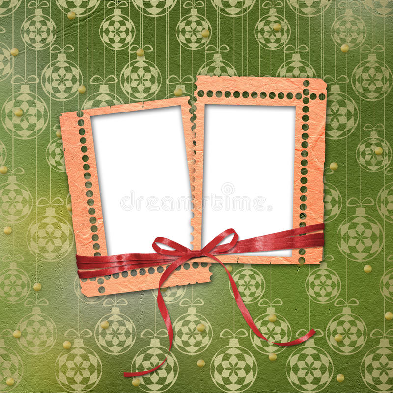 Old grunge frames with ribbons and bow stock illustration