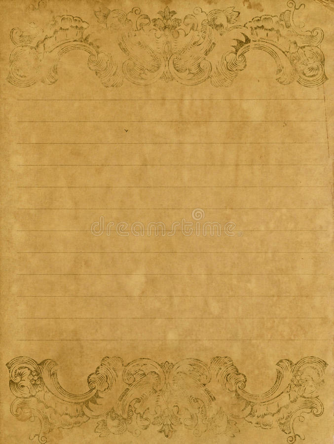 Old grunge letter paper stock photo