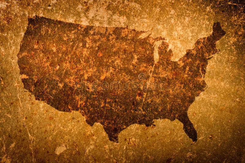 Old grunge map of United States of America royalty free illustration