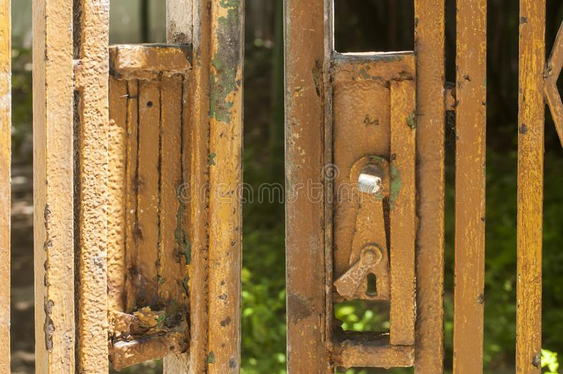Old grunge metal grid door stock image