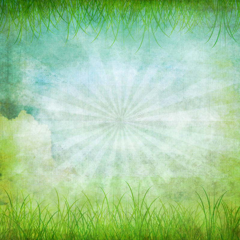 Old grunge paper. Nature and grass ,retro background vector illustration