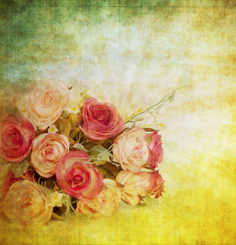 Old grunge paper. Roses pattern ,retro background royalty free illustration