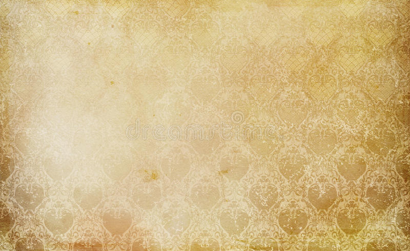 Old grunge paper texture and vintage floral ornament. Old grunge paper background with old-fashioned ornament for the design. Natural old paper texture stock photos