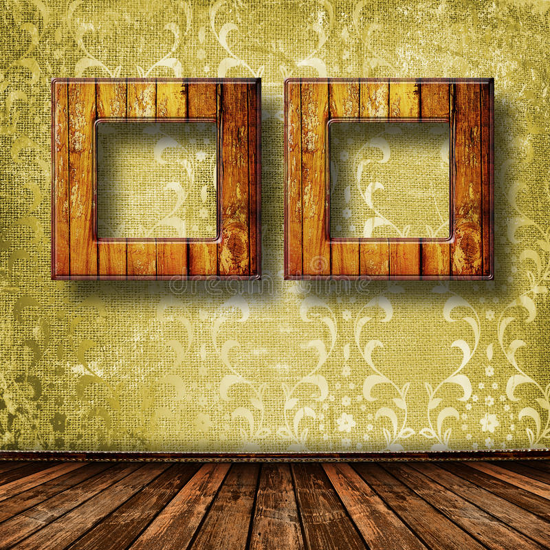 Old Grunge Room With Wooden Picture Frames Stock Image