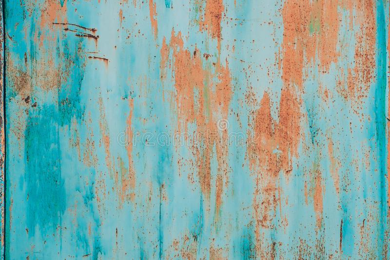 Old Grunge Rusty Metal Metallic Colored Background. Colorful Blue And Orange Abstract Metallic Surface royalty free stock photo