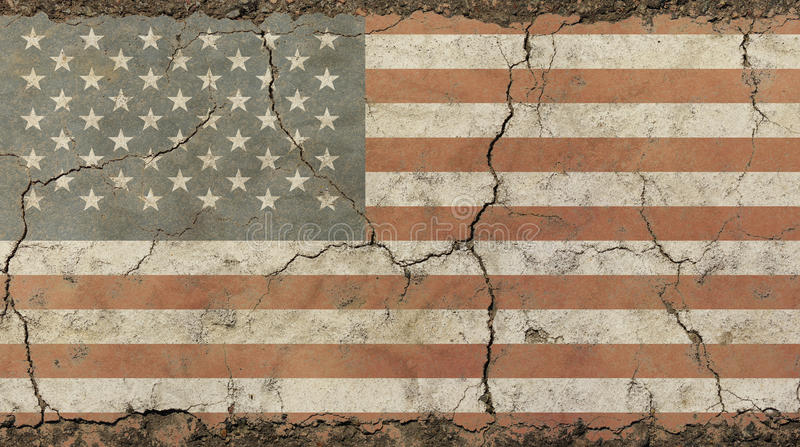 Old grunge vintage faded American US flag. Old grunge vintage dirty faded shabby distressed American US national flag background on broken concrete wall with stock photography