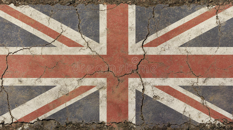 Old grunge vintage faded UK Great Britain flag. Old grunge vintage dirty faded shabby distressed UK Great Britain national flag background on broken concrete royalty free stock photo