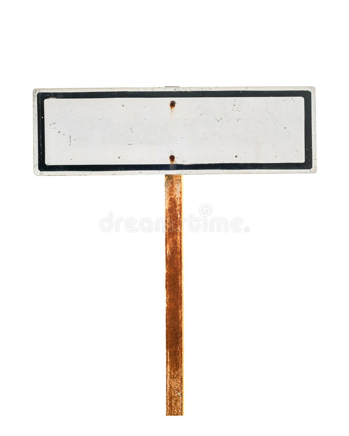 Old and grunge vintage metal sign. Isolated on white royalty free stock photography