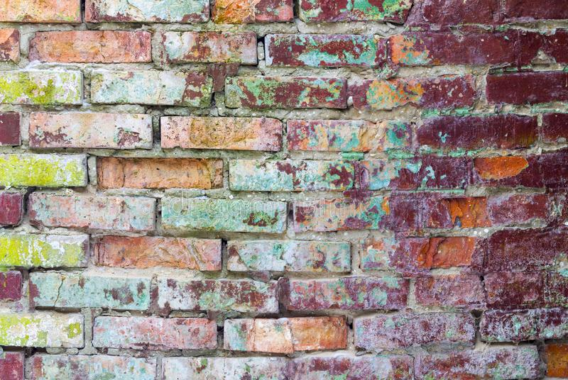 Old grunge wall. Grunge colored brick wall. Old brickwork decor backdrop. Architecture texture design background stock images