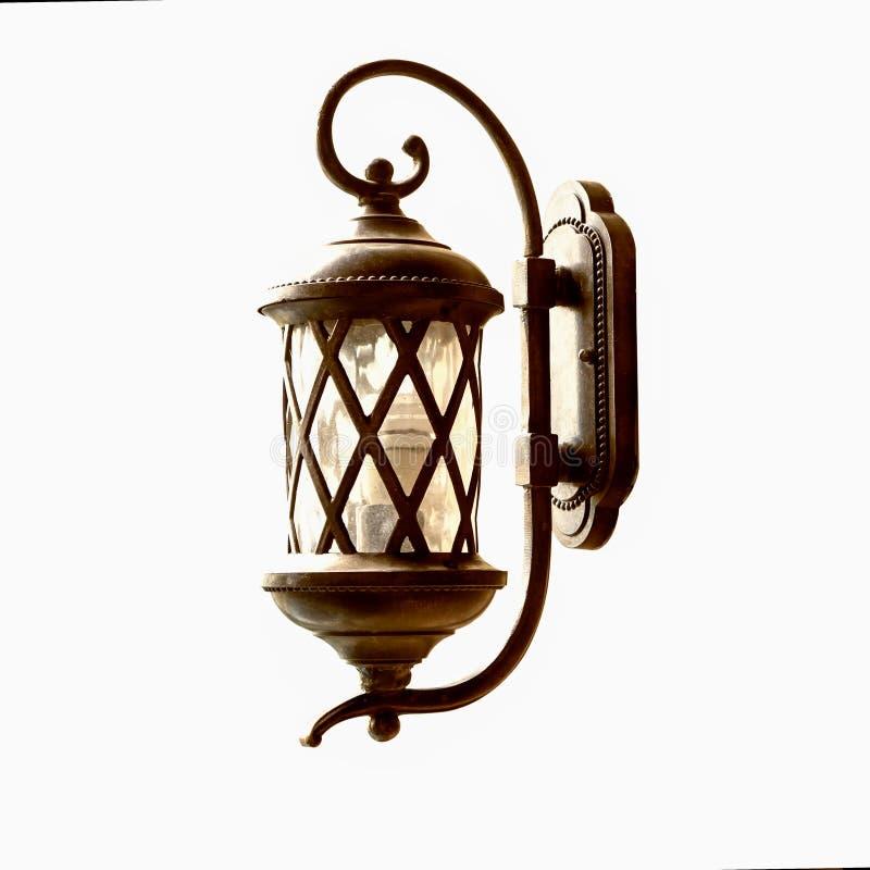 Grunge fence lamp isolated on wihte background stock photography