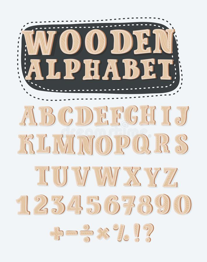 Old Grunge Wooden Alphabet, vector set with all Letters, ready for your Text Message, Title or Logos Design royalty free illustration