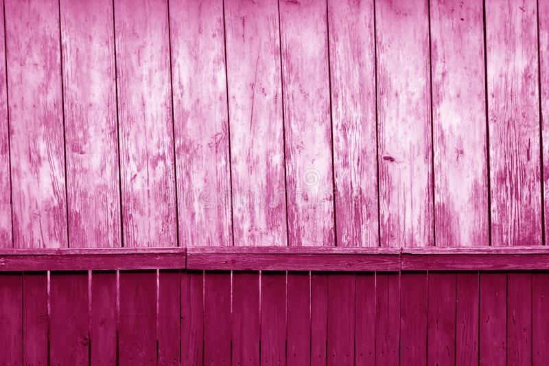 Old grunge wooden fence and wooden wall pattern in pink tone. Abstract background and texture for design, color, vintage, weathered, timber, tree, carpentry royalty free stock photo