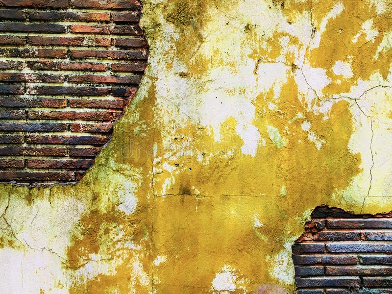 Old Grungy Brick Wall Art Creative Vintage Ancient Yellow Stock ...