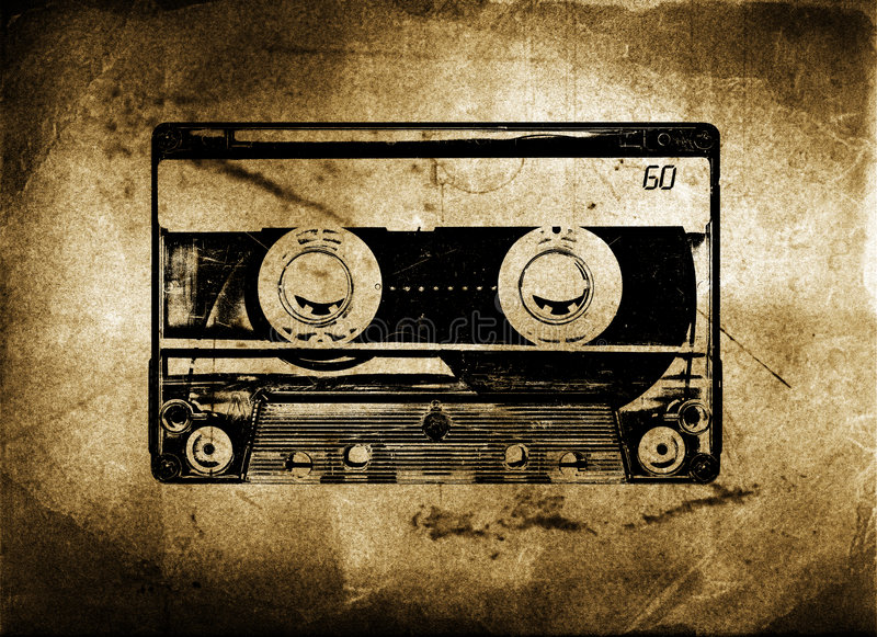 Old Grungy cassette tape. With grunge and aged textured background stock illustration