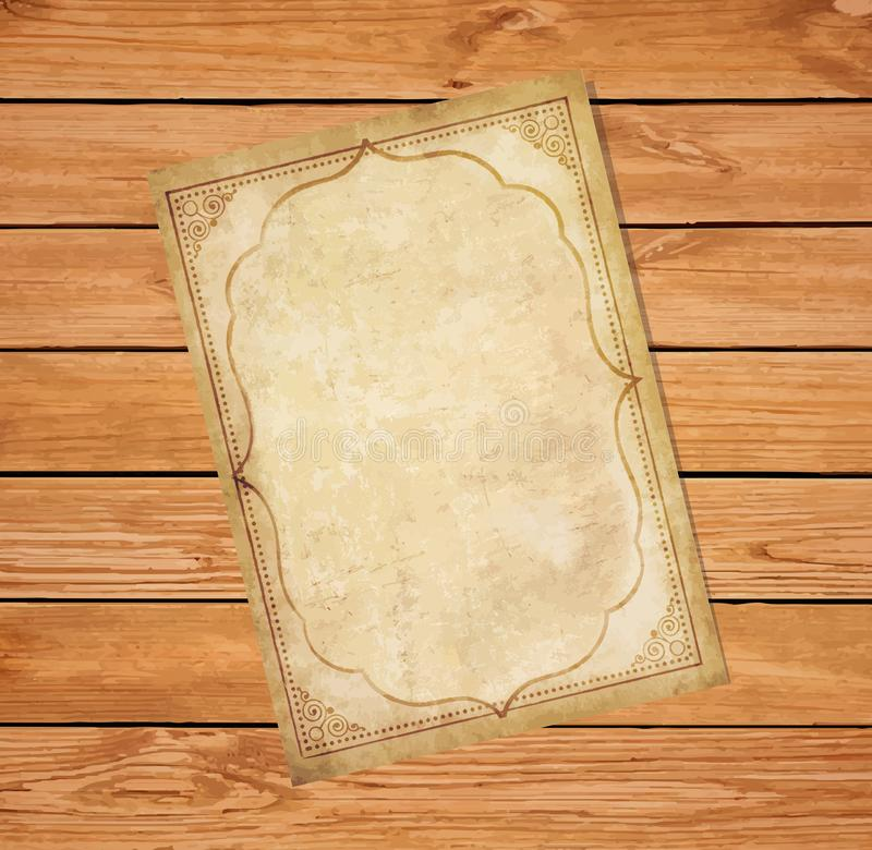 Old grungy papyrus with curly oriental ornamental frame stock illustration