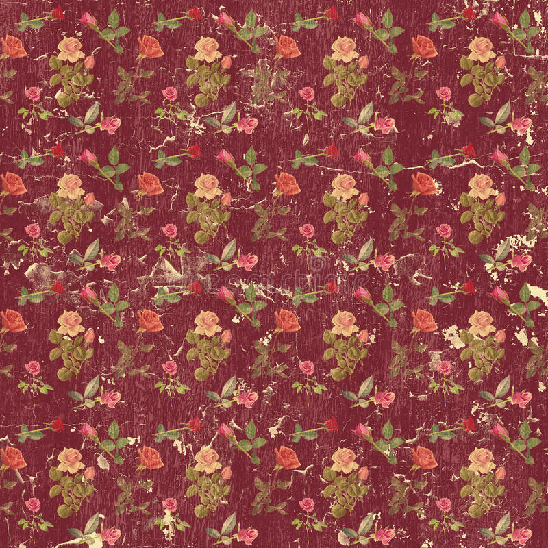 Old grungy roses wallpaper. Old grungy wallpaper with roses royalty free stock image