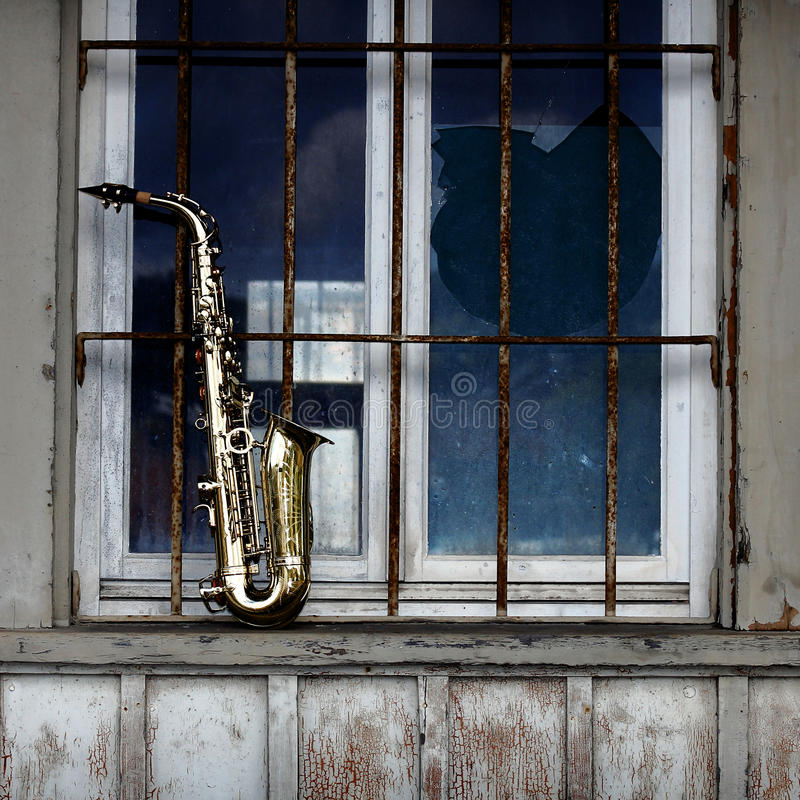Download Old grungy saxophone stock photo. Image of look, band - 21558158